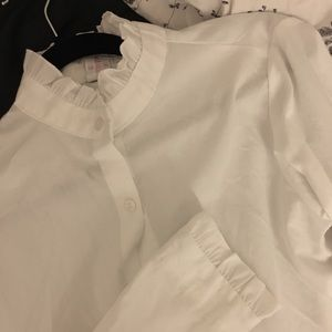 Tops - NWOT White button up ruffle trim